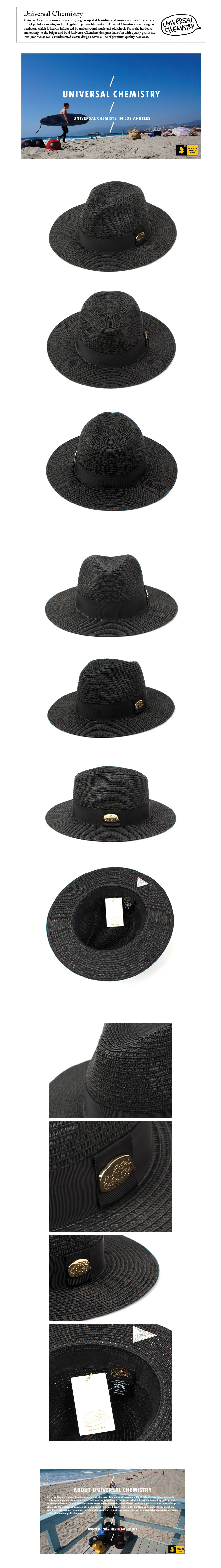 Gold-Metal Summer Black Fedora 썸머페도라